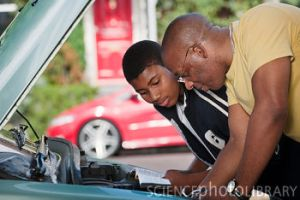 father & son working on car engine